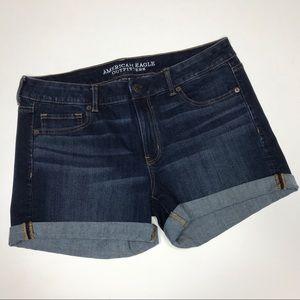 american eagle Midi denim jean shorts dark wash
